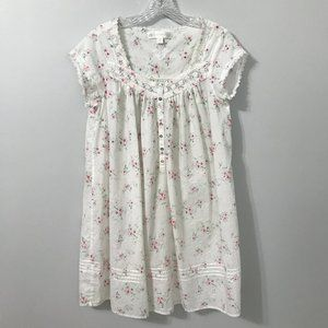 Eileen West White Floral Pajama Dress/Nightgown